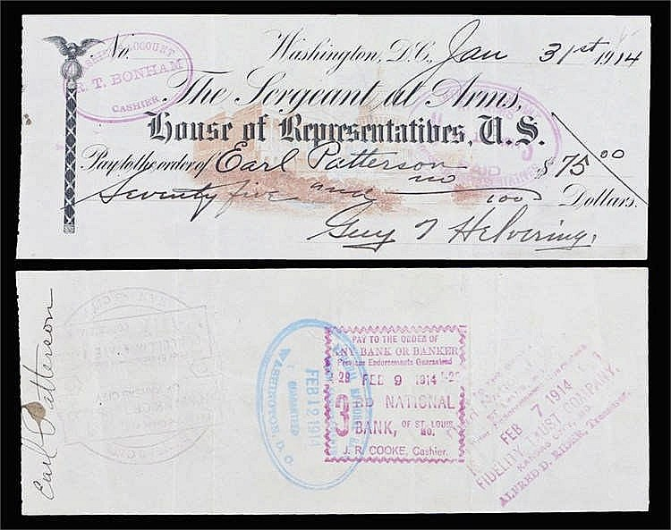 The House of Representatives US, payable order of Earl Patterson, 1914 - St