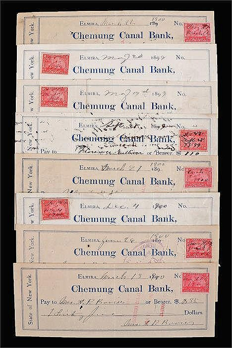 Chemung Canal Bank, 1900's cheques, (qty) - Stock Ref:4627-4