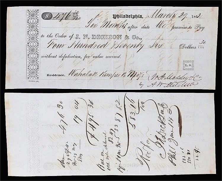 J.N. Dickson Philadelphia, 1842 - Stock Ref:4627-38