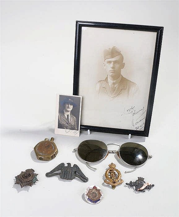 Collection of militaria to include Army Service Corps cap badge, Royal Army