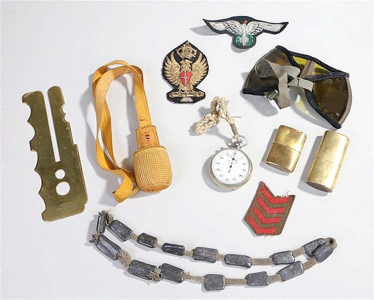 Mixed small military items including two brass lighters, stopwatch, sword k