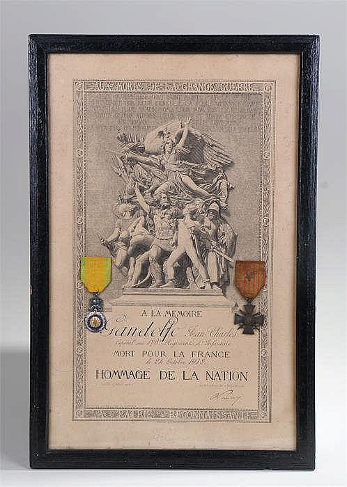 French World War One framed casualty scroll with Medaille Militaire and Cro