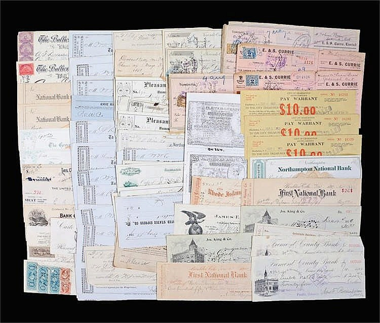 Collection of cheques, Imperial Bank of Canada, Toronto bank, 1920's, First