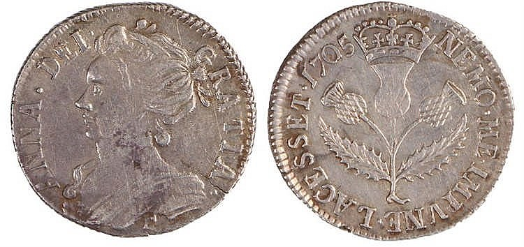 Queen Anne Scotland Sixpence, 1705, Thistle reverse - Stock Ref:2315-69