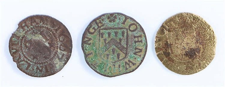 17th Century Suffolk Token, Lavenham John Whitinge grocer's farthing, x 2,