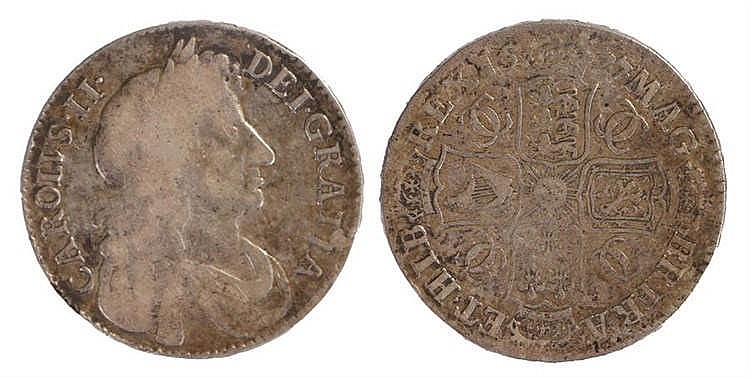 Charles II Half Crown, 1677, fourth bust - Stock Ref:2315-43