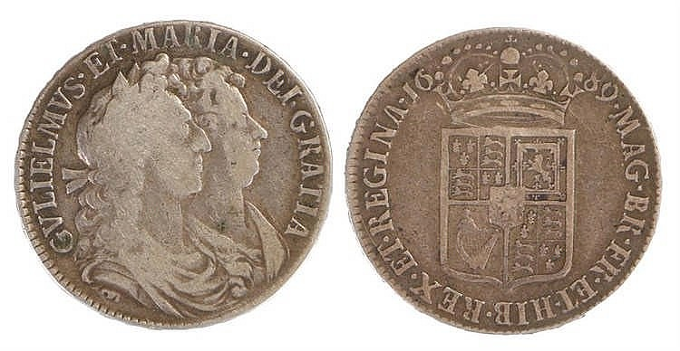 William & Mary Half Crown, 1689 - Stock Ref:2315-44