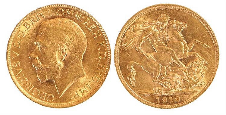 George V Sovereign, 1913, St George and the Dragon - Stock Ref:2315-33