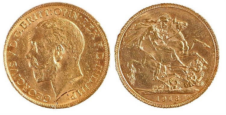 George V Sovereign, 1913, St George and the Dragon - Stock Ref:4836-1