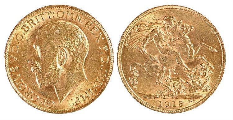 George V Sovereign, 1913, St George and the Dragon - Stock Ref:5247-1