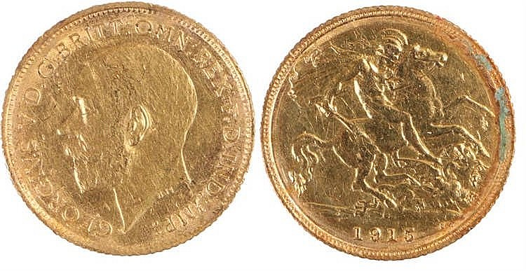 George V Half Sovereign, 1913, St George and the Dragon - Stock Ref:4867-3