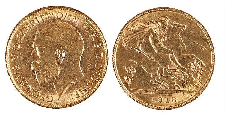 George V Half Sovereign, 1913, St George and the Dragon - Stock Ref:4885-40