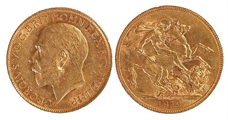 George V Sovereign, 1912, St George and the Dragon - Stock Ref:4870-6