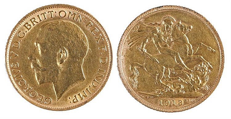 George V Sovereign, 1913, St George and the Dragon - Stock Ref:3813-29