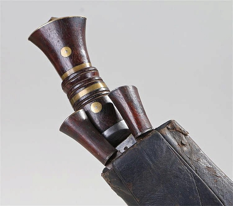 Pre 1939 Gurkha Kukri contained in a scabbard with two smaller knives - Sto