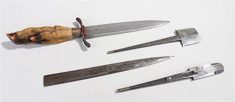 World War One trench dagger with deer's hoof handle, ridged brass ferule an