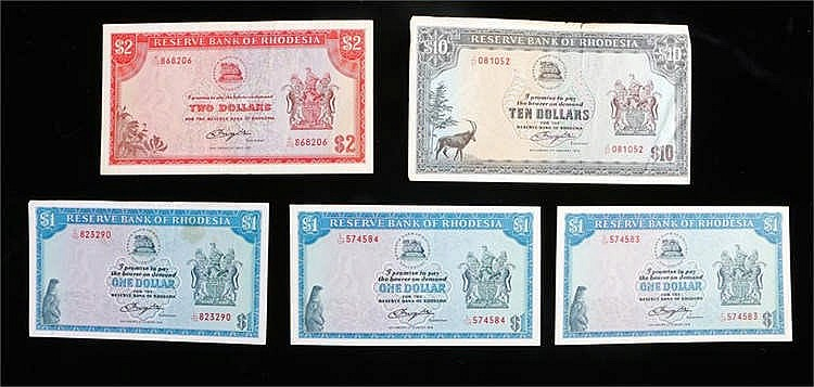 Banknotes, Reserve Bank of Rhodesia, $1 x 3 1979, $2 x 1 1979 and $10 x 1 1