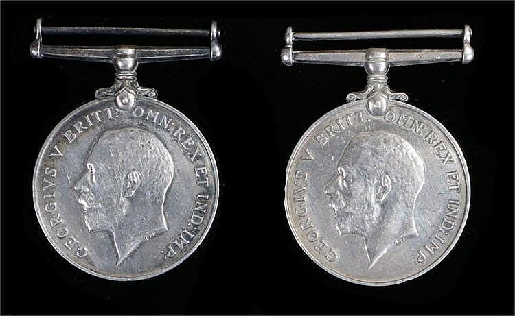 Two First World War medals, both War medals (J. 64996 H.J. MILLS ORD R.N.)