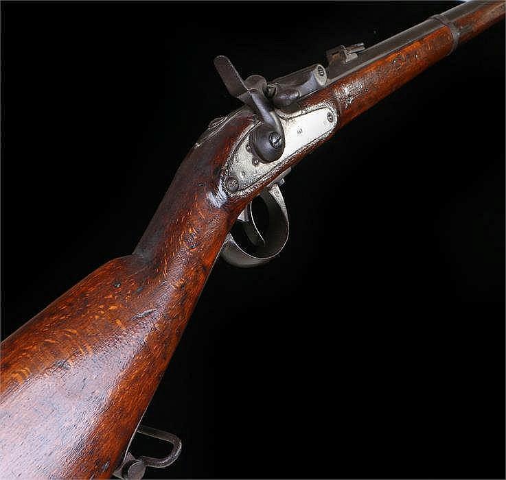19th Century breech loading gun, steel barrel with adjustable sights, two s