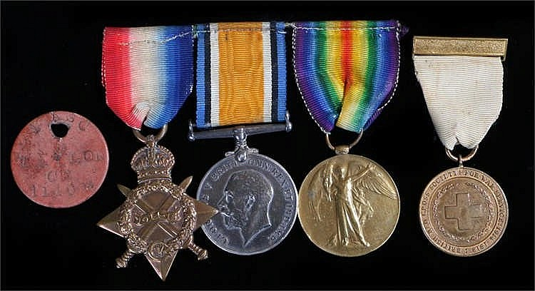 First World War trio of medals, 1914-15 Star, British War Medal and Victory