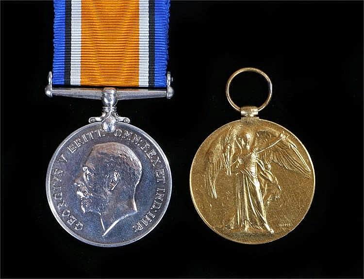 Pair First World War medals, Victory and War medals, (2.LIEUT N.R.J. BRADSH