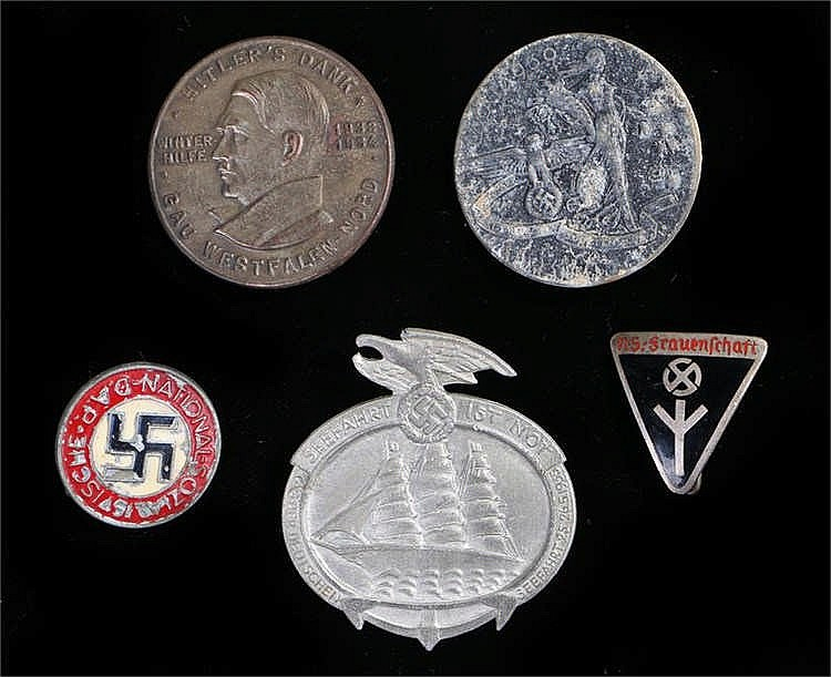 German Third Reich late war NSDAP membership badge in zinc together with a