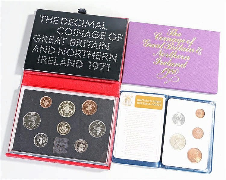 Coin sets, to include Decimal sets 1971, 1980, Britain's First Decimal set