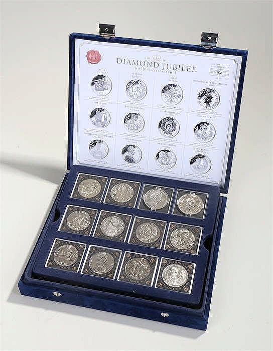 Diamond Jubilee coin set, Cupro-Nickel capsuled coins, cased - Stock Ref:47