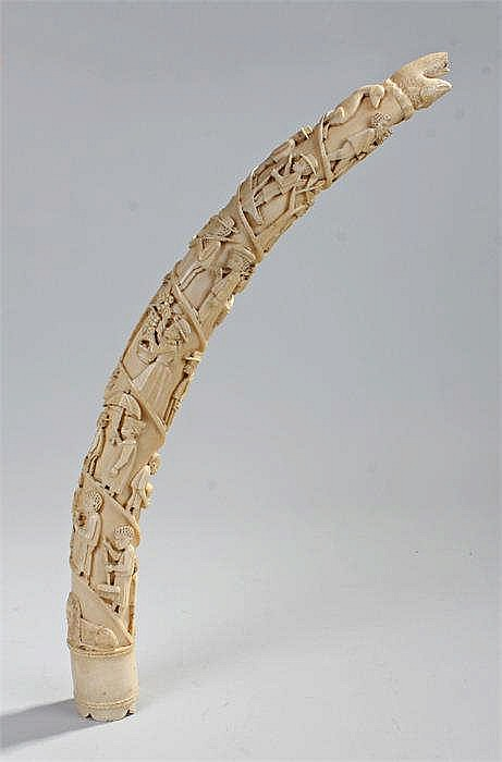 Fine 19th Century Luango African ivory carved tusk, Congo, the deeply carve