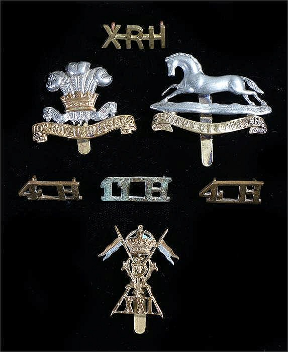 Three World War One era British cavalry badges to the 3rd Hussars, 10th Hus