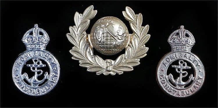 Royal Marines Police cap badge in white metal, worn between 1923-1949, two