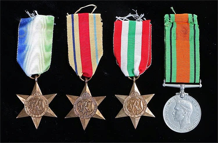 World War Two collection of medals, Atlantic Star, Africa Star, Italy Star,