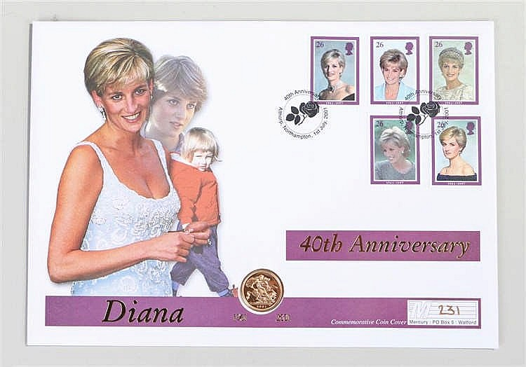 Elizabeth II Sovereign and first day cover celebrating the Princess of Wale