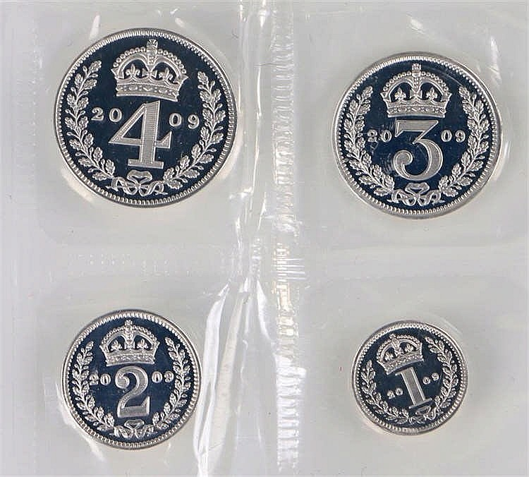 Elizabeth II silver Maundy Set, 2009, 1d, 2d, 3d and 4d, sealed as issued -
