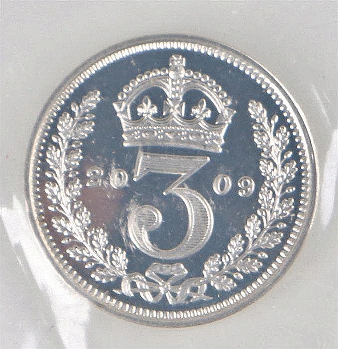 Elizabeth II silver Maundy 3d, 2009, sealed as issues, together with the Ma