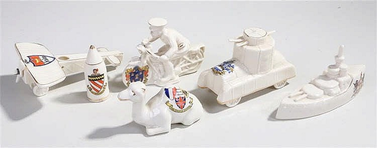 A collection of First World War crested china by Carlton, Royal Crown and A