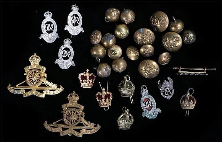 A collection of pre 1953 Royal Artillery badges, including Royal Horse Art