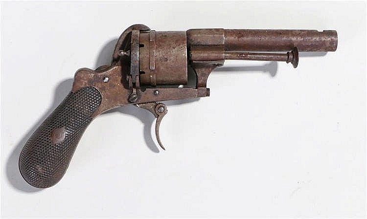 19th Century Belguim six shot pistol, with folding trigger and chequer grip