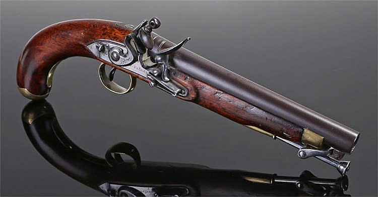 Circa 1800 W Parker flintlock pistol with fitted ramrod on swivel, polished
