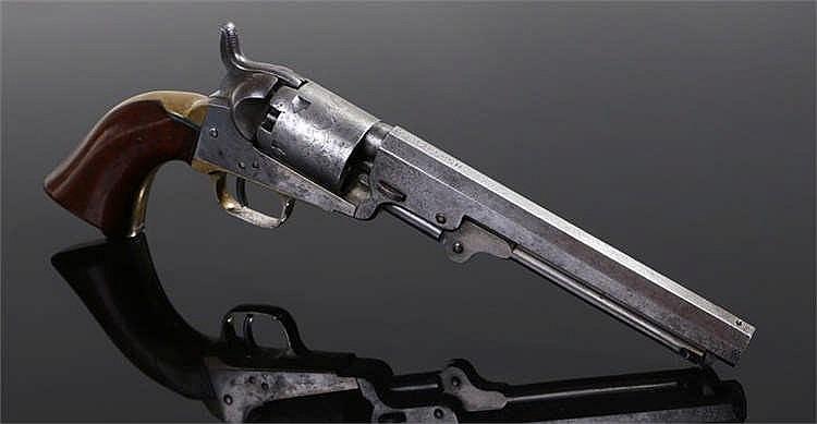 Samuel Colt mid 19th century, single action long barrel five shot revolver,