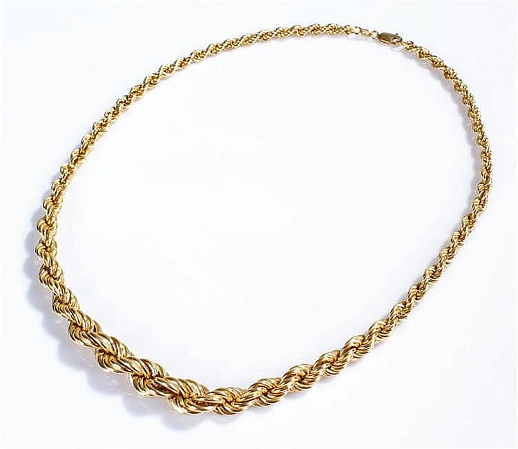 18 carat gold necklace with rope twist links 45cm 24