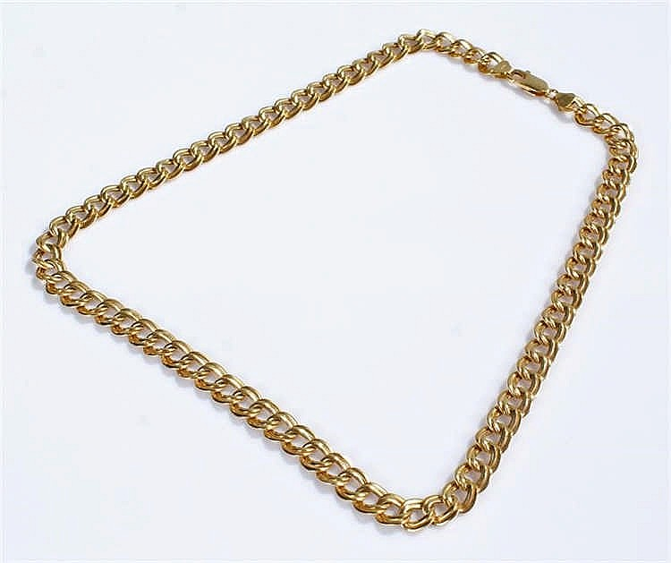 18 carat gold necklace with dual oval links 50cm 25