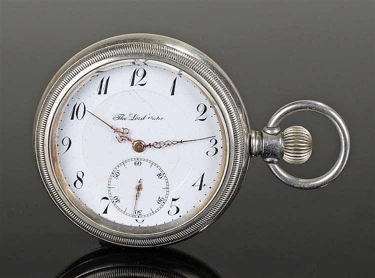 Locomotive interest, a steel cased open face pocket watch, the white enamel