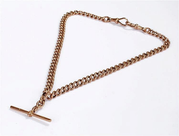 9 carat gold pocket watch chain, with two clips and a T bar, 42cm long, 45.