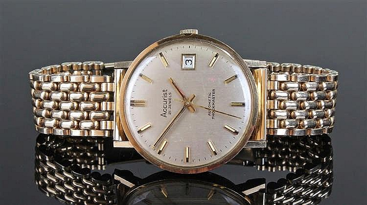 Accurist Automatic shockmaster gentleman's 9 carat gold wristwatch, the sil