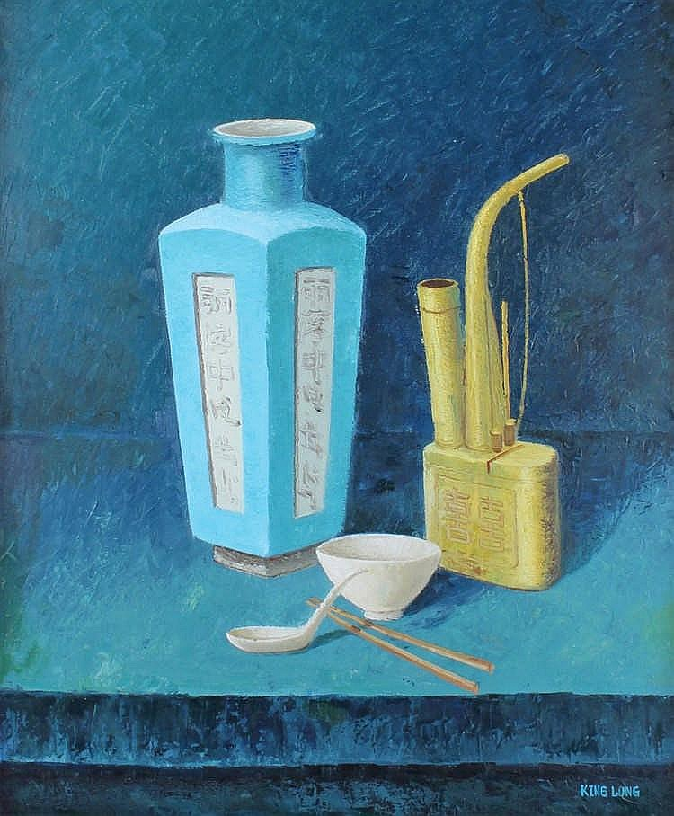 King Long, still life of objects, signed oil on canvas, 52cm x 62cm
