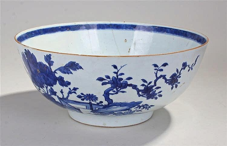 19th Century Chinese punch bowl, the blue foliate decoration with blue band