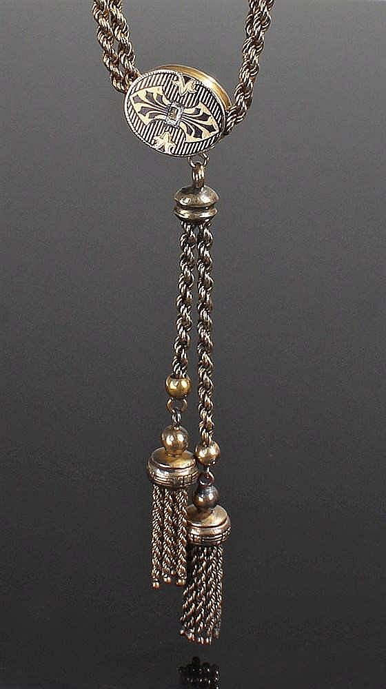 19th Century pocket watch chain, the gold plated chain with yellow metal st