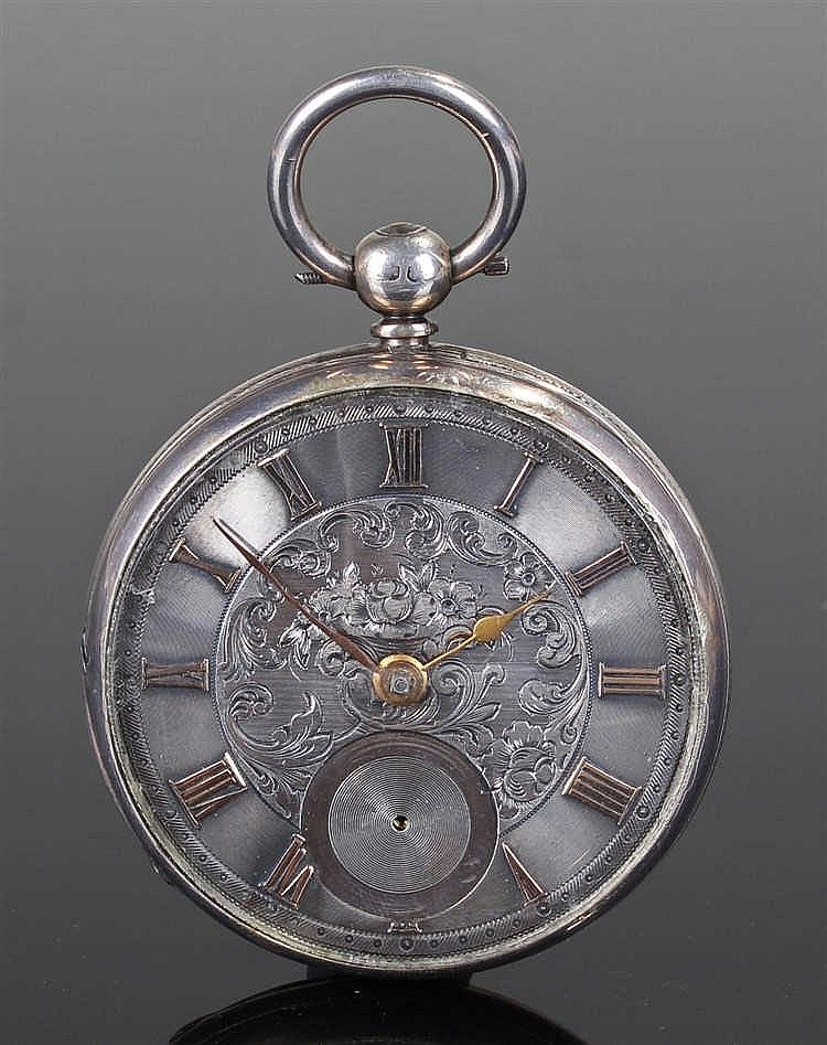 Victorian silver open face pocket watch, London 1855, the silver dial with