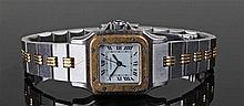 Cartier ladies wristwatch, the white enamelled square dial with Roman numer